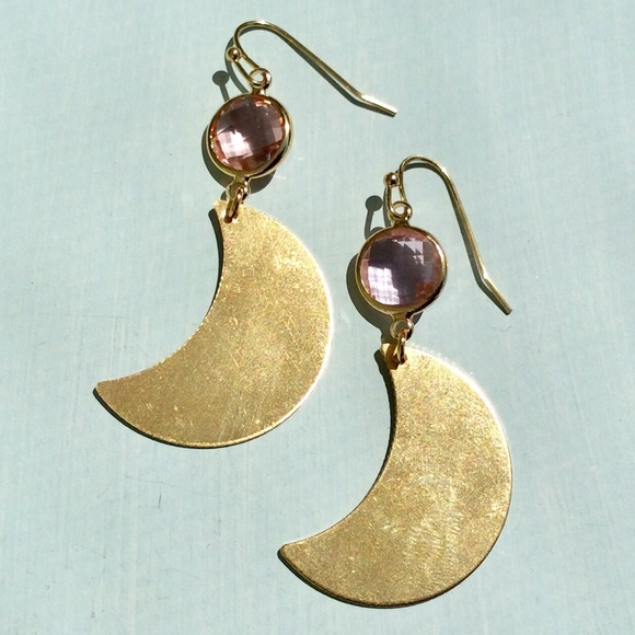 Pink stone Moon Earrings +Anthropologie hand cream
